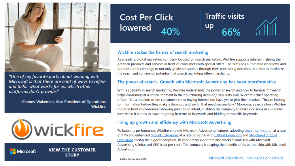 Wickfire featured in Microsoft Ads Case Study